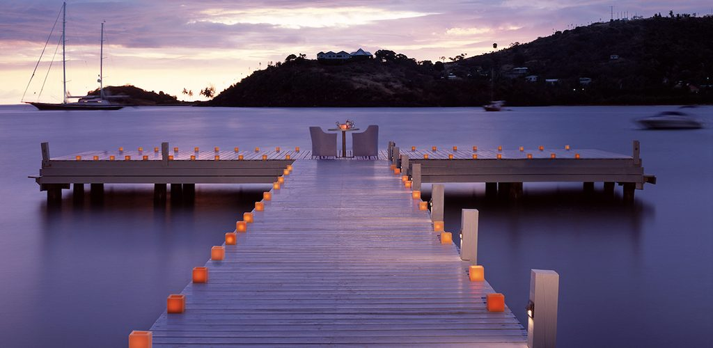 Carlisle Bay Candlelit dining on the jetty