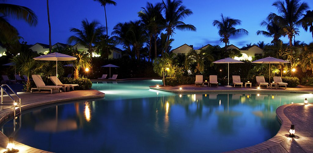 Pool by night at Carlisle Bay